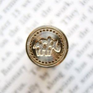 画像1: 《Wax Seal Jewelry》 シーリングワックス スタンプ15mm 水玉動物 ゾウ