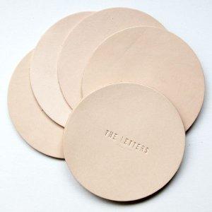 画像2: THE LETTERS 本革ハギレシリーズ レザーコースター マル